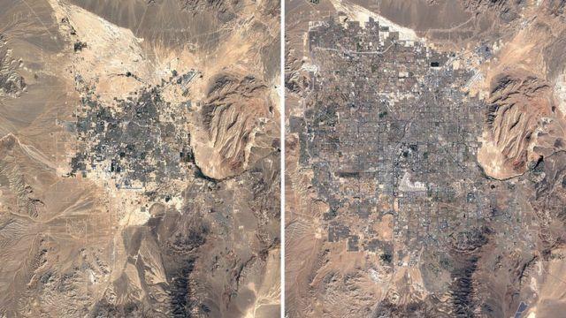 오른쪽이 1984년 라스베이거스, 왼쪽이 2020년 라스베이거스다. 2배 가까이 크기가 커졌다