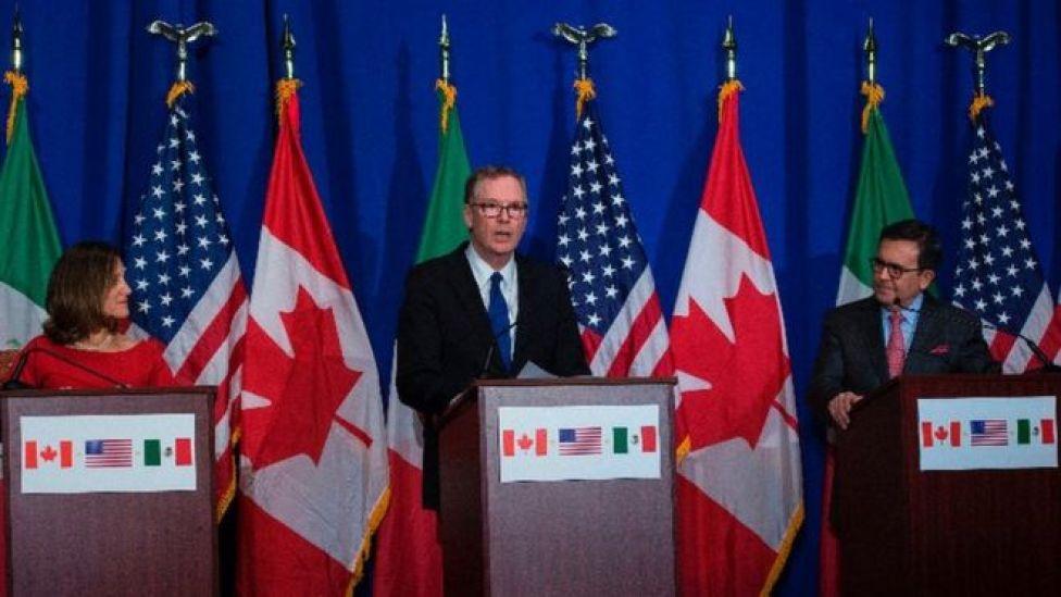 Los negociadores de Canadá, Estados Unidos y México en Washington.