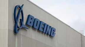 The Boeing logo is pictured at the Boeing Renton Factory in Renton, Washington