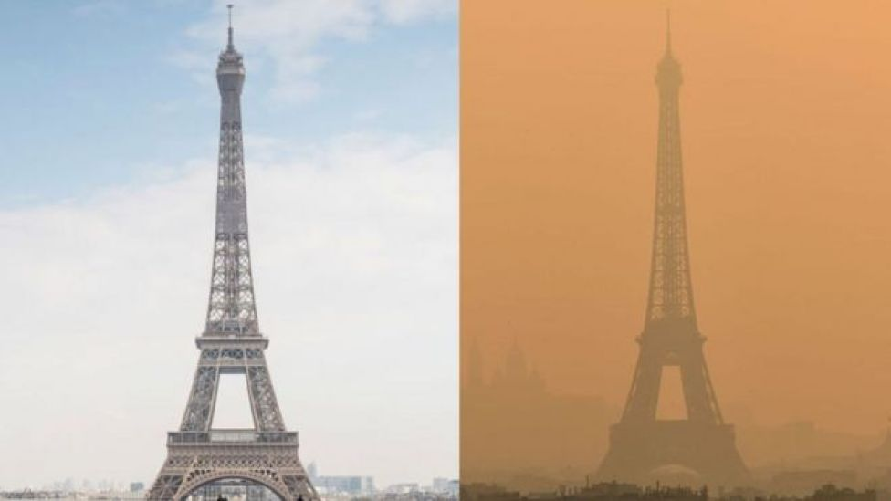 Paris Eiffel tower under lockdown vs with air pollution