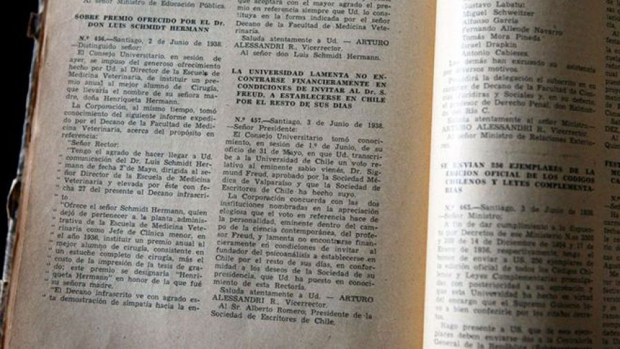 El documento de la Universidad de Chile, de 1938