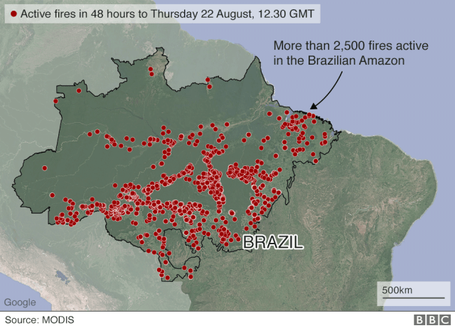 Active fires in Brazil