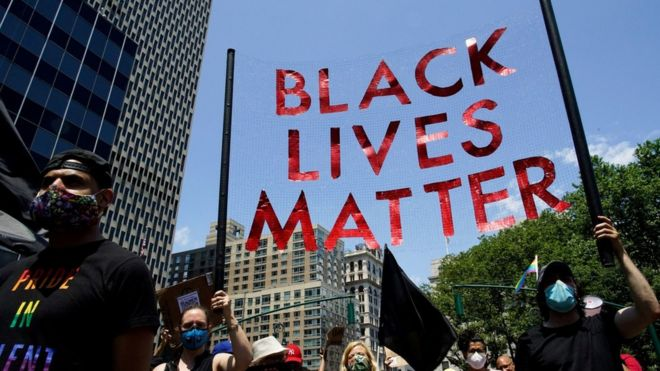 """إحدى مسيرات """"أرواح السود مهمة"""" في نيويورك"""