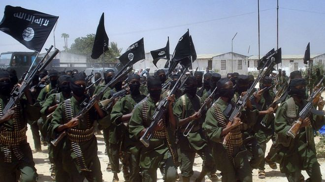 A file photo taken on February 17, 2011 shows Islamist fighters loyal to Somalias Al-Qaida inspired al-Shebab group performing military drills at a village in Lower Shabelle region, some 25 kilometres outside Mogadishu.
