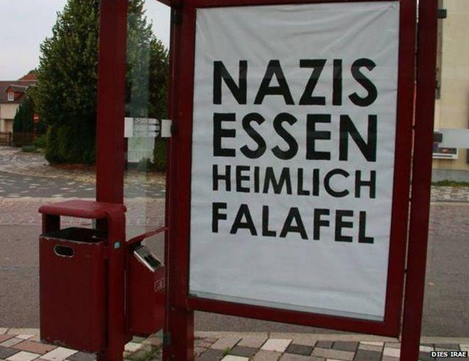 A poster reading 'Nazis secretly eat falael'