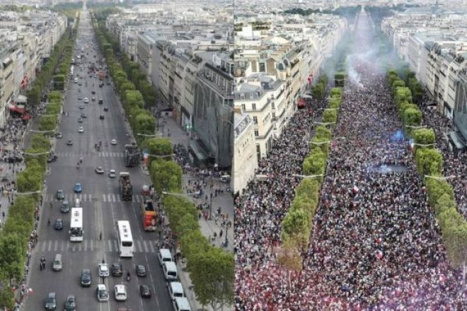 Zafer Takı'ndan (Arc de Triomphe) Champs-Elysee caddesi, maçtan önce ve maçtan sonra