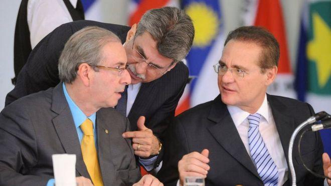 Eduardo Cunha, Romero Jucá e Renan Calheiros