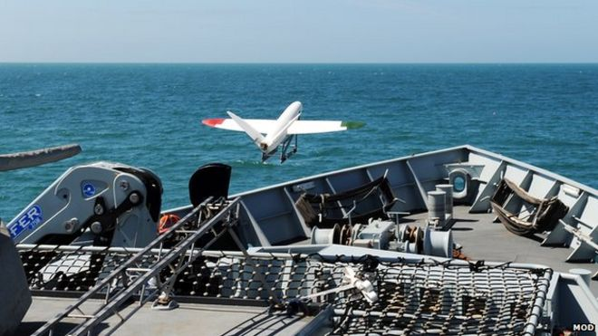 A 3D plane taking off from a Royal Navy ship