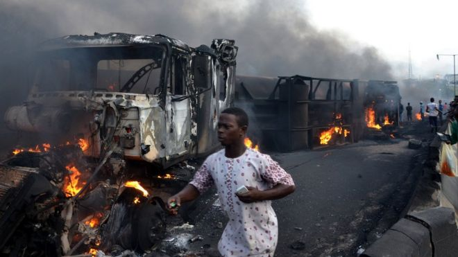 Image result for tanker explosion in lagos