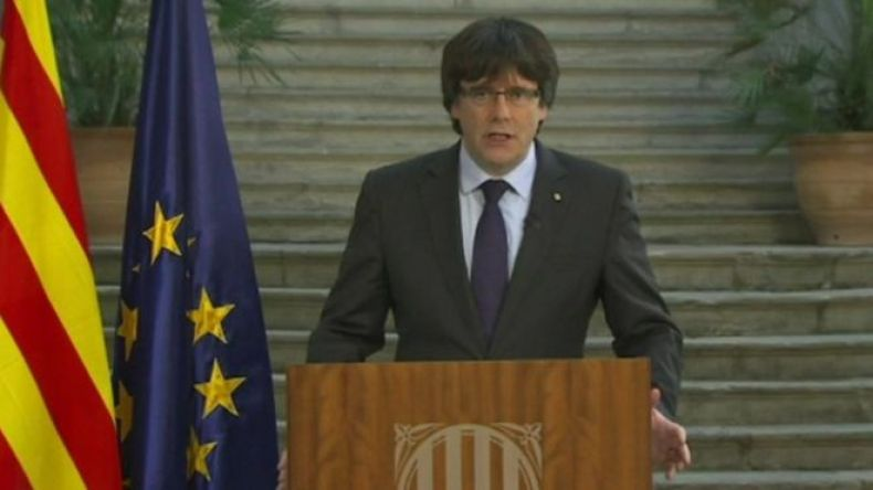 Carles Puigdemont, 28 de octubre, 2017 (Foto: EVN)