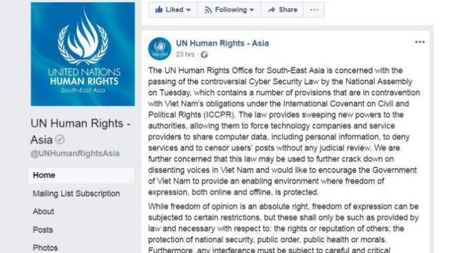 Bản tuyên bố của văn phòng nhân quyền của Liên hiệp quốc tại Đông Nam Á hôm 14/6