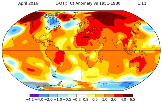 Nasa temperature map, April 2016