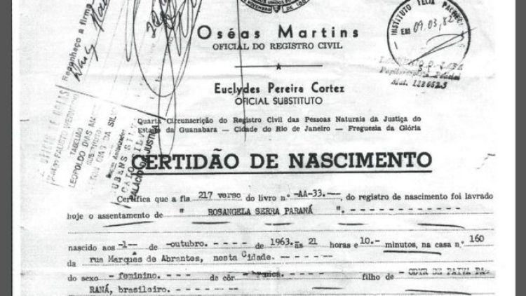 Certidão de nascimento de Rosângela Paraná