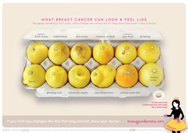 Limões mostrando sinais do câncer no seio