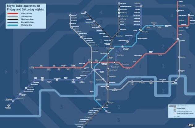 Finalised London night time Tube map revealed   BBC News Night Tube map