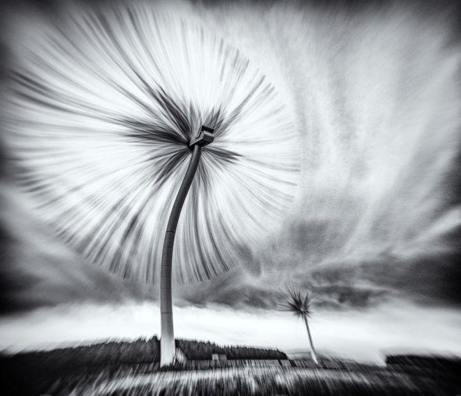 Un molino de viento en Northumberland, Reino Unido.