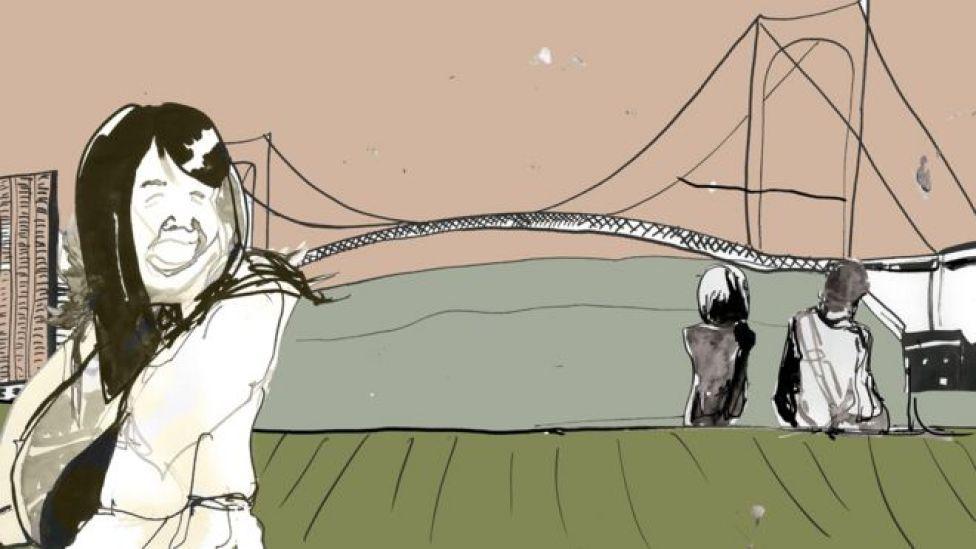 Ilustración de Megumi feliz