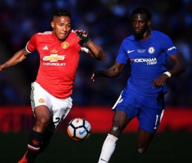 Antonio Valencia Of Manchester United Is Challenged By Tiemoue Bakayoko Of Chelsea During The Emirates Fa