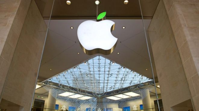 Apple logo at store