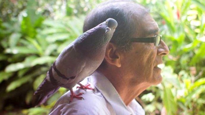 Imagen de conservacionista Víctor Zambrano con paloma en el hombro.