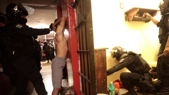 A prison cell in Acapulco, Mexico, being searched for drugs and weapons