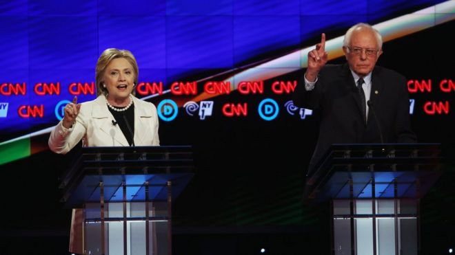 Democratic Presidential candidates Hillary Clinton and Sen. Bernie Sanders (D-VT) debate during the CNN Democratic Presidential Primary Debate