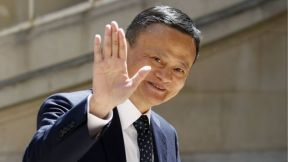 "Chairman of Alibaba Group Jack Ma arrives to attend the ""Tech for Good"" Summit at ""Hotel de Marigny"" on May 15, 2019 in Paris, France."
