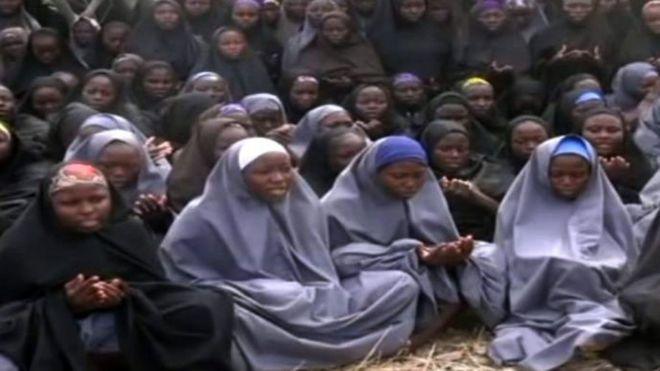 Chibok schoolgirls in screengrab from Boko Haram video - May 2014