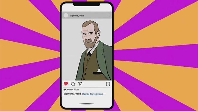 Freud en Instagram en teléfono móvil dibujo