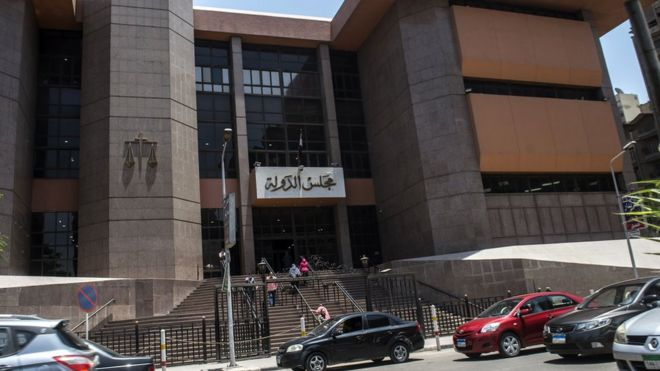 Entrance of the State Council's building, Egypt's highest administrative court, in Cairo, on 21 June,. 2016