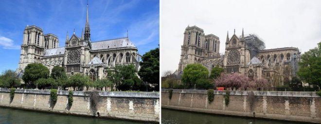 Notre Dame de París antes y después del incendio.
