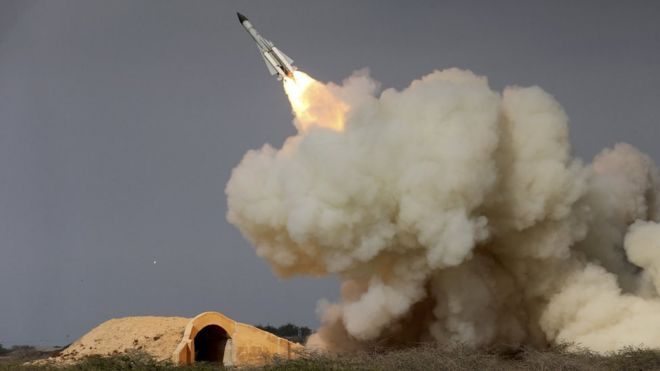 File photo, released by semi-official Iranian Students News Agency, of a long-range S-200 missile fired in a military drill in the port city of Bushehr