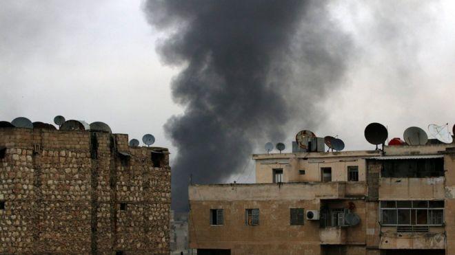 Smoke rises after strikes on rebel-held neighbourhoods of eastern Aleppo, Syria December 5, 2016