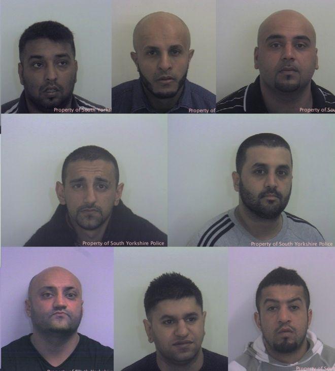Operation Clover guilty men: L-R: Mohammed Whied, Waleed Ali, Asif Ali, Sageer Hussain, Ishtiaq Khaliq, Basharat Hussain, Masoued Malik, Naeem Rafiq