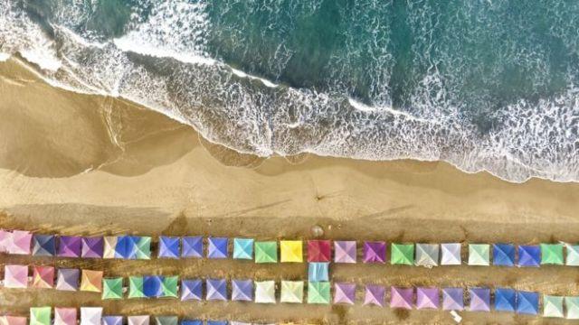 Vista aérea de una playa de Acapulco (México)