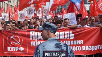 Image result for Russians Rally Against Change in Pension Age