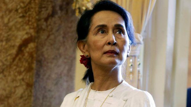 Myanmar's State Counsellor Aung San Suu Kyi in Hanoi, Vietnam September 13, 2018