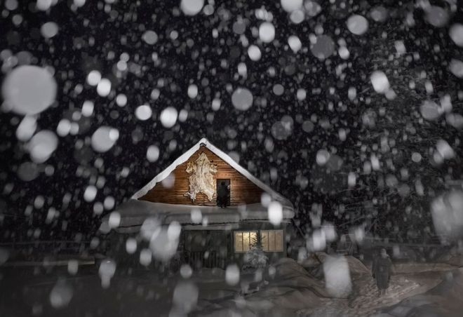 A snow covered house