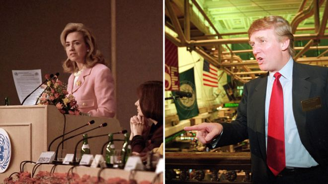 Hillary Clinton in Beijing in 1995; Donald Trump at IPO of trump plaza in 1995