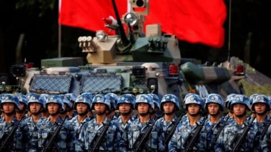 The  globalisation  of China s military power   BBC News People s Liberation Army  PLA  troops await Xi Jinping at 20th anniversary  of city s hand