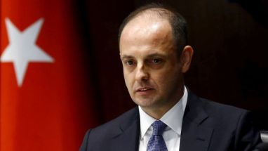 Murat Cetinkaya speaks at a ceremony as he takes over a central bank governor in April 2016