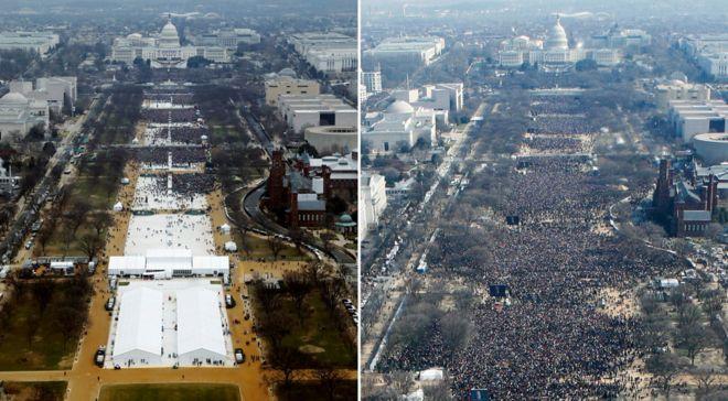 Fotos aéreas das posses de Donald Trump e Barack Obama