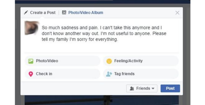 Facebook post Facebook said its algorithms would flag messages expressing suicidal thoughts
