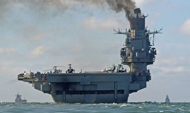Russian aircraft carrier Admiral Kuznetsov in the English Channel, on 21 October