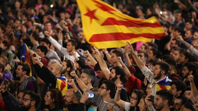 Crowds gather to await the result of the Independence referendum at the Placa de Catalunya on October 1, 2017 in Barcelona