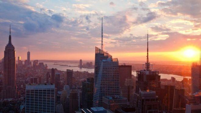 Dawn breaking over New York