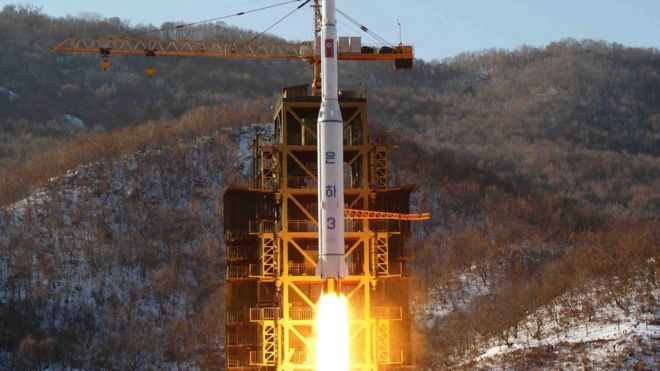 "North Korea""s Unha 3 rocket lifts off from the Sohae launch pad in Tongchang-ri, North Korea. The Unha 3 rocket that launched the ""Bright Star"" satellite into space in 2012"