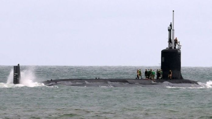 The USS Indiana, a nuclear-powered US Navy Virginia-class fast attack submarine, departs Port Canaveral in Florida on October 1, 2018