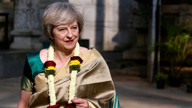 Theresa May during her visit to Hindu God Lord Someshwara Temple in Bangalore, India
