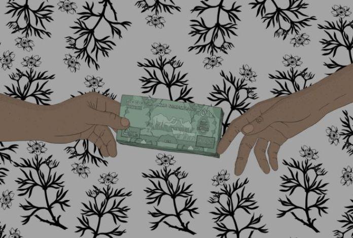 Dinero intercambiando de manos.